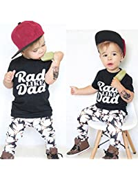 Toddler Baby Kids Boy Letter Print Tops Shirt Pants Outfit Set Clothes by XILALU