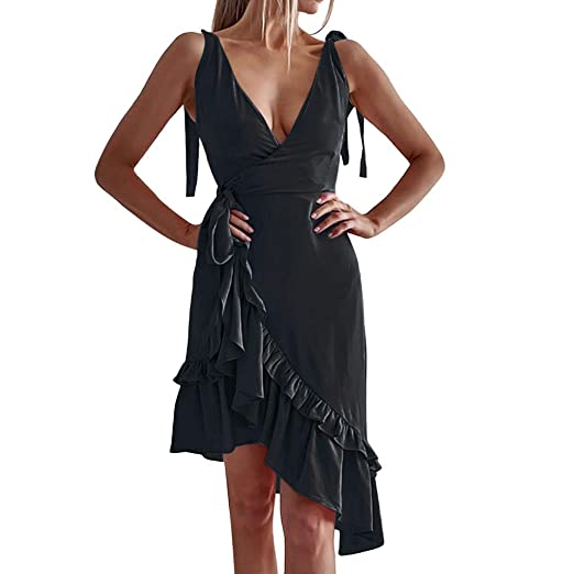 f9e87b6e81d HHei K Women Sexy Cross Front V-Neck Mini Dress Summer Asymmetric Ruffle  Hemline Sleeveless Sundress