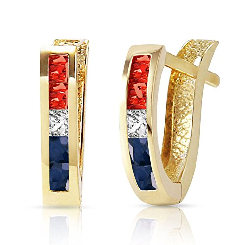 ALARRI 1.28 CTW 14K Solid Gold USA American Flag Multi Gemstones Earrings by ALARRI