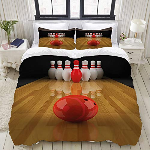 VAMIX Duvet Cover Set, Bowling Party Red Skittle Ball Print, Decorative 3 Piece Bedding Set with 2 Pillow Shams, Twin Size
