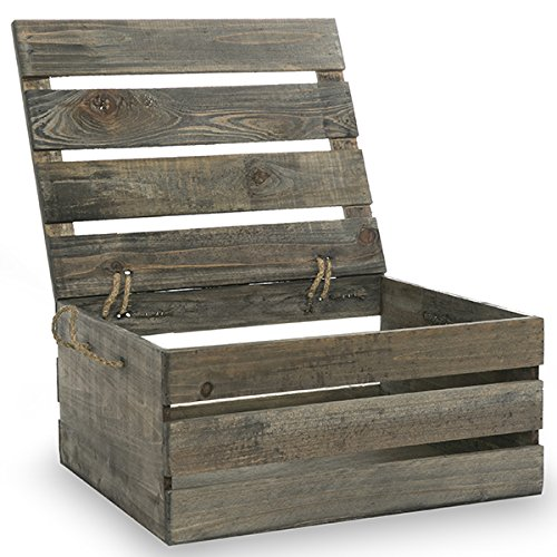 The Lucky Clover Trading Antique Wood Crate Storage Box with Swing Lid, 15.25