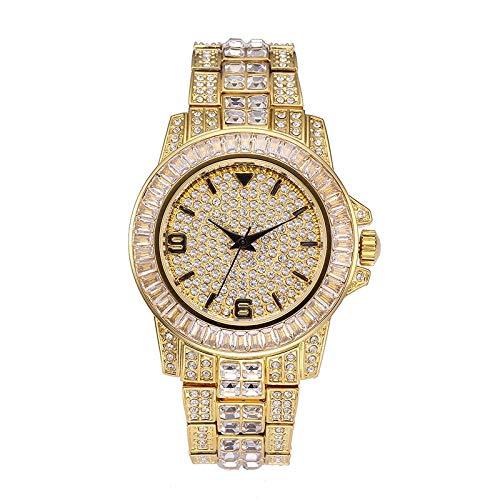 (Majinz Store Diamond Bangle Bracelet Men's Watches Men Baguette Diamond Watch Men Luxury Brand Man Watch 18K Gold Waterproof Watch Quartz Wristwatch )