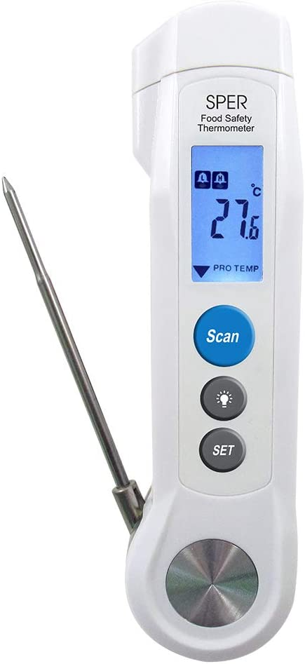 Sper 800115 - Compact IR Food Safety Thermometer - Measures Internal and Surface Temperatures