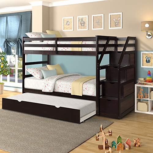 Romatlink Solid Kids, Hard Wood Bunk Bed with 4 Drawers in The Steps and a Twin Trundle, Natural Walnut Finish, Espresso