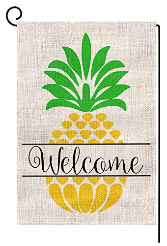 (BLKWHT Pineapple Welcome Small Garden Flag Vertical Double Sided 12 x 18 Inch Outdoor Yard Decor)