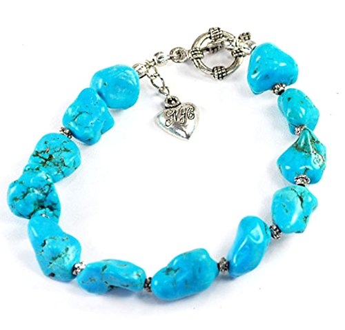 (Blue Magnesite Turquoise Nugget Beads with Silver Bracelet 8