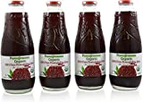 100% Organic Pomegranate Juice - 4 Pack - 33.8 fl oz - USDA Certified - Glass Bottle - No Sugar Added - No Preservatives - Squeezed From Fresh Pomegranates