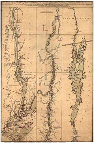 Hudson River & Lake Champlain 1777 Map by Sauthier - Reprint Vermont New York (Hudson River Map)
