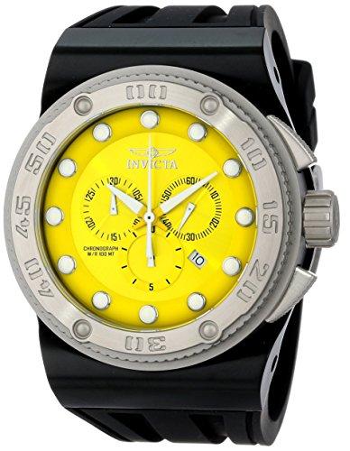 Invicta Men's 12294 Akula Chronograph Yellow Dial Black Silicone Watch (Yellow Textured Chronograph Dial)