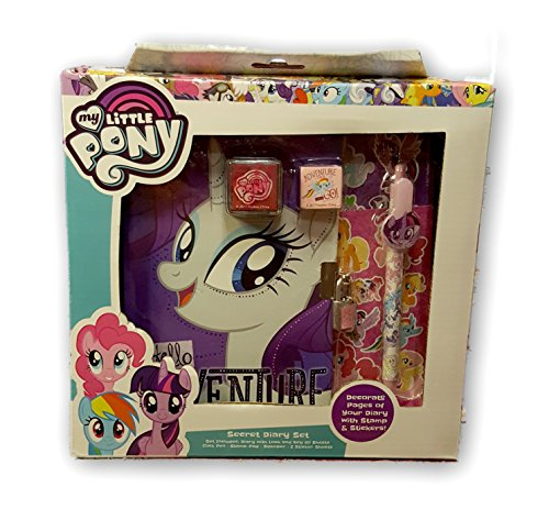 HOT SELLER!!!!! My Little Pony Secret Diary Set (Diary With Lock and Key 60 Sheets, Click Pen, Stamp Pad, Stamper, 2 Sticker Sheets (Homemade Thing One And Thing Two Costumes)