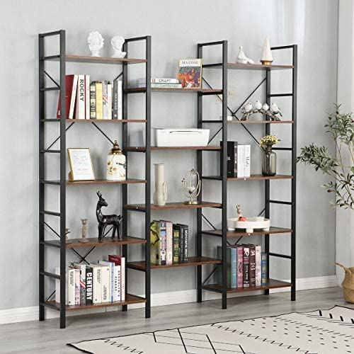 MELLCOM Triple Wide 5 Tier Industrial Bookshelf