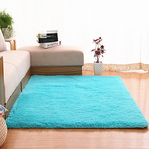 Soft Area Rugs, NUOKIM Nursery Rugs for Baby, Thin Carpet for Kids Bedrooms, Bedroom Rugs 4 x 5.3 Feet (Blue)