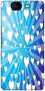 Snoogg Flying Hearts On Blue Background Designer Protective Back Case Cover For Micromax Canvas Knight A350