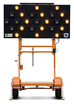 "ECO Solar Arrow Boards, 1 40/50W panel, 12V Batt, Orange Pwdr Ctd, 2""Hitch, 25 Lights, 12 Arrow Modes"
