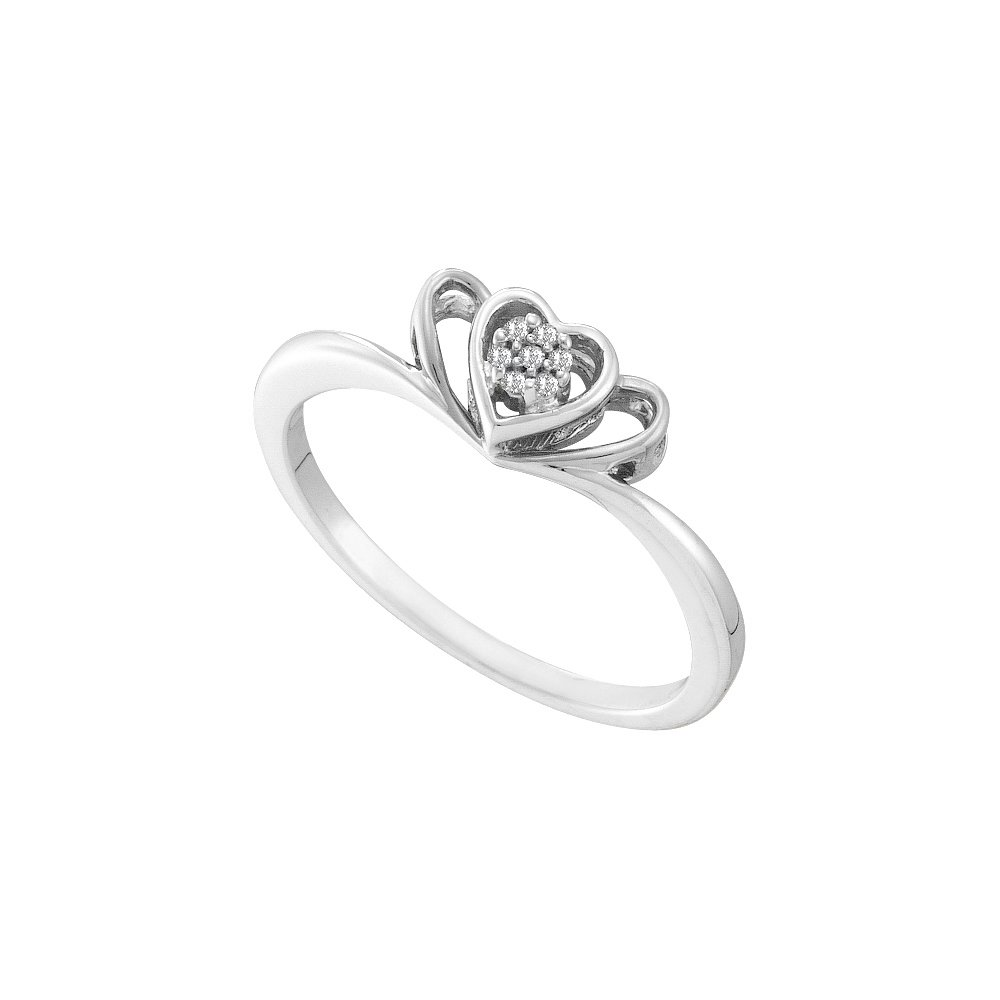 10kt White Gold Womens Round Diamond Heart Love Ring .02 Cttw (I2-I3 clarity; J-K color)
