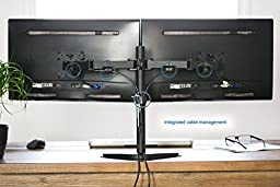 VIVO Dual LCD Monitor Free Standing Desk Mount with Optional Bolt-through Grommet / Stand Heavy Duty Fully Adjustable fits Two Screens up to 27\