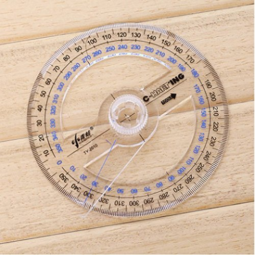200PC All Circular 10Cm Plastic 360 Degree Pointer Protractor Ruler Angle Finder Swing Arm For School Office Supplies by Function-Ruler