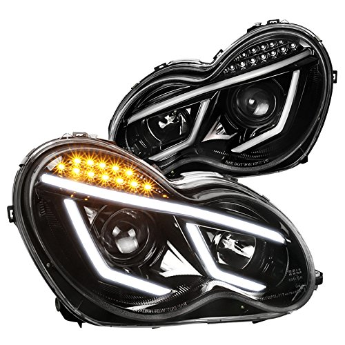 Jet Black Mercedes Benz W203 C-Class C230 C320 LED DRL Bar Projector Headlights ()