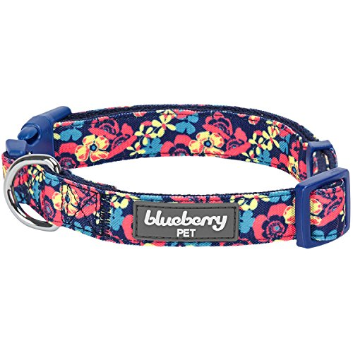 Dog Plastic Leash (Blueberry Pet 5 Patterns Spring Made Well Profound Floral Print Dog Collar in Navy, Medium, Neck 14.5
