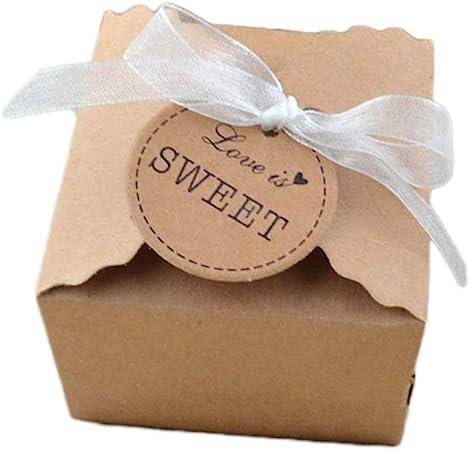 50 Piezas Papel Kraft Caja de Regalo Dulces Regalos Cajas Para el Presente del Banquete de Boda Embalaje Favor Regalo Dulces Marrón (Hilo de gasa): Amazon.es: Hogar