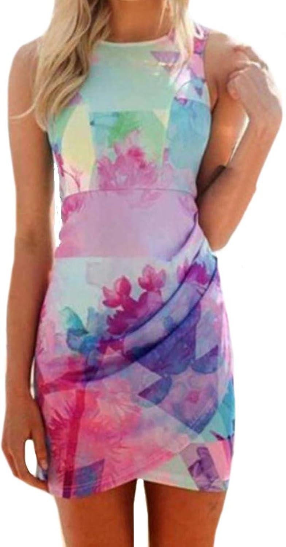 Unko Womens Slim Fit Printing Sleeveless Package Hip Dress