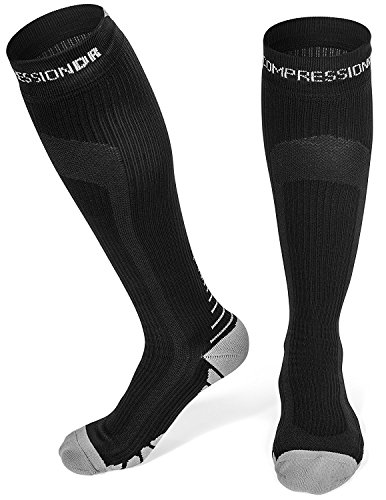 CompressionDR Compression Socks - Firm Knee High Graduated 20-30 mmHg - Foot, Ankle, Shin, and Calf Support For Women And Men - Best For Running, Sports, Travel, Recovery - Black / Large