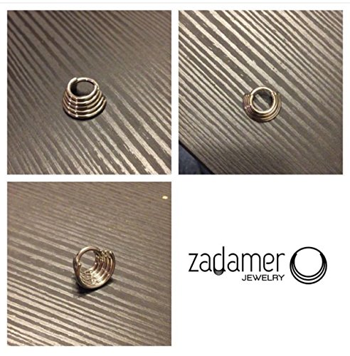 TITANIUM Quintuple (5-Ring) Septum Ring Hinged Clicker. 14G 7mm or 9mm Inner Diameter by Zadamer Jewelry
