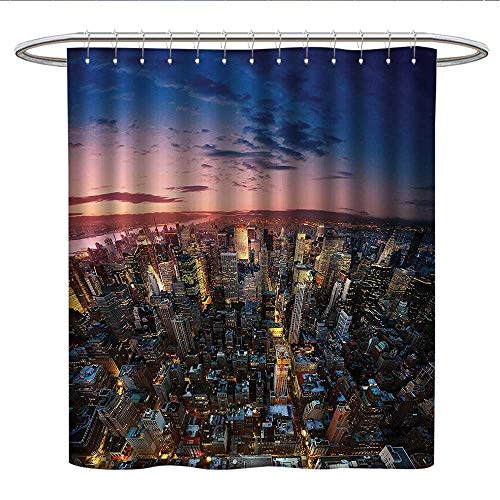 Anshesix NYC Decor Collectionfunny Shower curtainManhattan at Last Sunlights of The Day Metropolitan Downtown Roofs State StructurePlastic Shower curtainPink Navy Yellow (Merritt Bathroom Light)