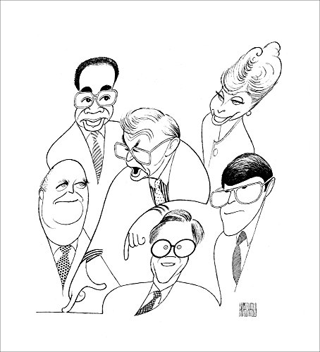 THE McLAUGHLIN GROUP, Hand Signed by AL HIRSCHFELD, Limited Edition Lithograph, DR. JOHN MCLAUGHLIN, ELEANOR CLIFT, FRED BARNES, MORTON KONDRACKE, CLARENCE PAGE, and JACK GERMOND