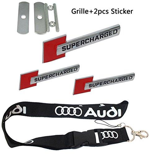 New 1pcs Audi Keychain Lanyard Badge Holder + 1pcs set SUPERCHARGED Red Grille Emblem Decal Badge + 2pcs Back SUPERCHARGED Emblem Racing Motorsport -