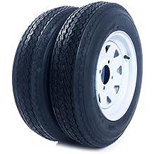 "Pair of 2 Trailer Tires & Rims 5.30-12 530-12 5.30x12 12"" LRB 4 Lug/4"" Hole Bolt White Spoke Wheel"