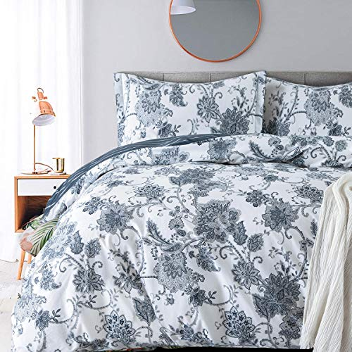 Villa Feel King Duvet Covers and Sets Damask Paisley Vintage Floral Print Duvet Cover Sets-1000tc Egyptian Cotton Percale Weave Reversible 3pc Bedding-Comforter Cover Set(King,White Base Navy Floral)