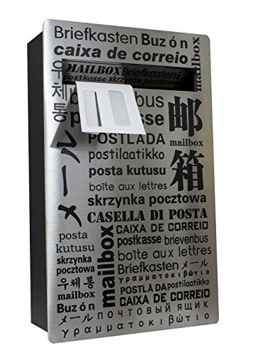 (Qualarc WF-PM18 Verse Wall Mount Rectangular Stainless Steel Front Locking Mailbox, Silver/Black)