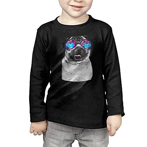 Galaxy Pug With Cool Glass Kids Children Unisex Long Sleeve Cotton Crew Neck T-Shirt Tee ()