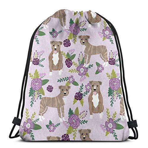 (Pitbull Brindle Purple Dog Breed Florals_16882 Custom Drawstring Shoulder Bags Gym Bag Travel Backpack Lightweight Gym for Man Women 16.9