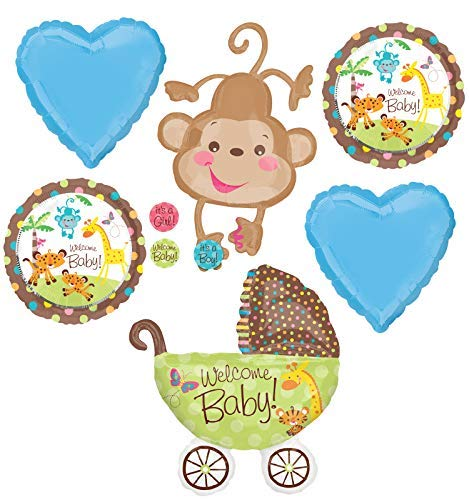 Jungle Safari Welcome Baby Boy Shower Party Supplies Buggy and Monkey Balloon Bouquet Decorations ()