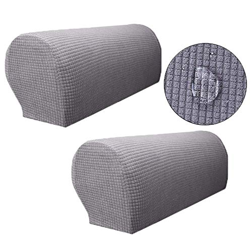 ZUODO Light Gray Spandex Waterproof Sofa Arm Covers Stretch Arm Caps for Armchairs Non Slip Pair of Furniture Protector Jacquard Loveseat Arm Protectors(Light Gray)
