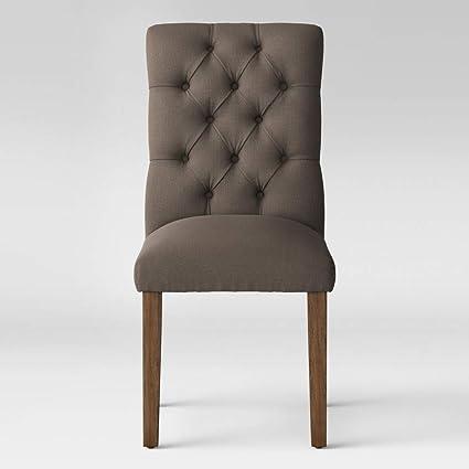Enjoyable Amazon Com Threshold Brookline Tufted Dining Chair Gray Ibusinesslaw Wood Chair Design Ideas Ibusinesslaworg