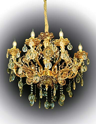 Eplazalighting Gold Chandelier with Different Lamp Size, Candle-Style Zinc Crystal, Light Fixtures Ceiling Chandelier Pendant Lighting Small and Large Shapes for Bedroom Livingroom (8lights)