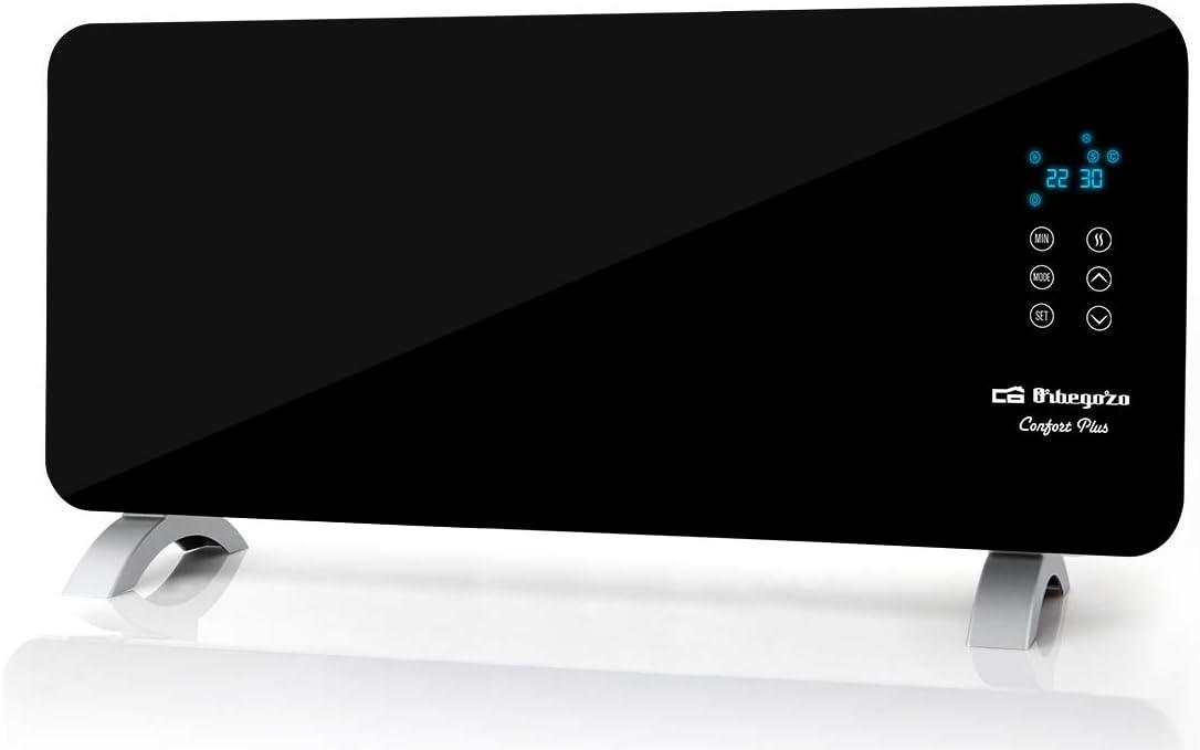 Orbegozo REH 2050 – Panel radiante con frontal de cristal templado en color negro, apto para baño, mando a distancia y temporizador. 2000 W de potencia.