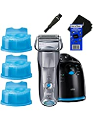Braun Series 7 790cc Cordless Electric Foil Shaver for Men with Clean and Charge Station + 3 Clean & Renew Cartridges + Double Ended Shaver Brush + HeroFiber Ultra Gentle Cleaning Cloth