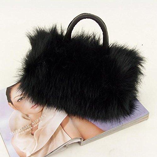 Korean PU Fur Leather Clutch Black Shoulder Bag Fashion Faux Lady Tote Style amp; Girls Tenflyer qYzxtTt