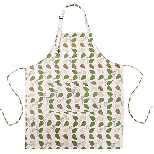 MissOwl Adjustable Plus Size Work Apron Waterproof with Pockets Kitchen for Women Men Leaf