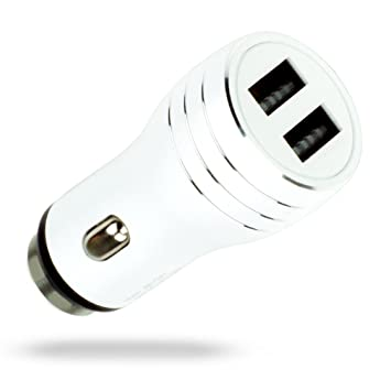 MyGadget Cargador de Coche Metálico Doble Puerto USB (2,1A / 1A) para Móvil - Adaptador Automóvil para Samsung Galaxy Apple iPhone Table - Blanco