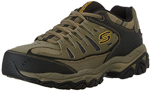 Skechers Sport Men's Afterburn Memory Foam Lace-Up Sneaker, Pebble/Black/Pebble, 10.5 M US