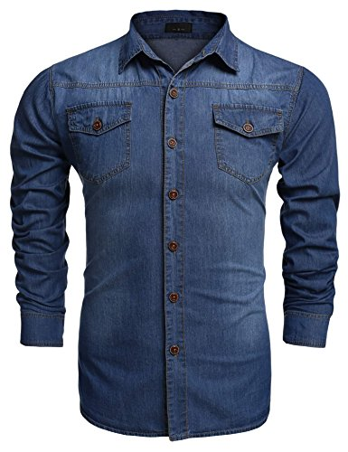 Men's Button Down Shirt, Casual Fitted Cotton Dress Shirt with Chest Pockets (M, Light Blue)