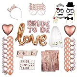 Bride To Be Set, Kicpot 120 Pack Rose Gold Wedding Bridal Shower Party with Mylar Foil Pink Letter & Latex Balloons Bride To Be Sash Bridal Veil Photo Props Bride Tattoos Foil Fringe Curtains and Crown Perfect for Bachelorette Party Supplies
