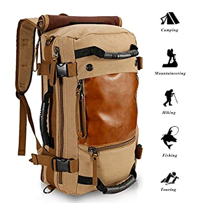 Ibagbar Canvas Backpack Travel Bag Hiking Bag Camping Bag Rucksack