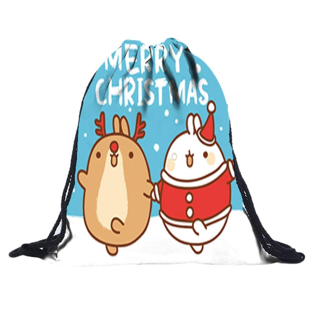 Christmas Cute 3D Digital Print Bouquet Drawstring Bags Pocket Backpack,Outsta Children Party Drawstring Bag Sports Storage Bag Gift Simple Hanging Sack (I)