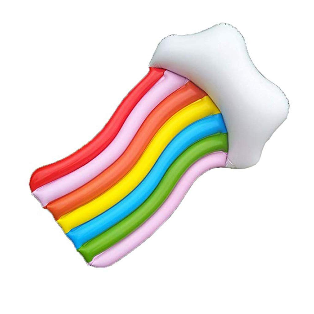 Selm Inflatable Floating Row Rainbow Water Floating Row PVC Lounge Chair Swim Ring Water Toy Beach Mat for Adult and Kids